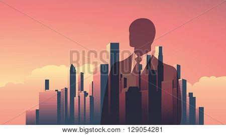Urban skyline cityscape with businessman standing over. Double exposure vector illustration landscape background. Horizontal landscape orientation. Eps10 vector illustration.