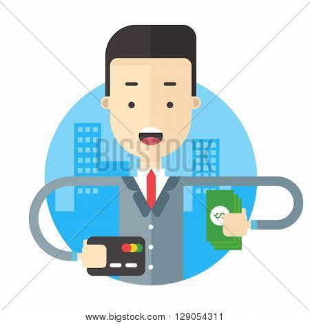 A man in suit holding a bundle of notes and a road map. Flat vector illustration