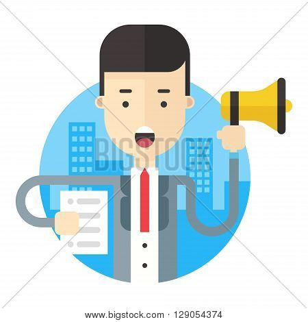 Businessman making announcement with a loudspeaker and a paper in hands. Flat vector illustration.