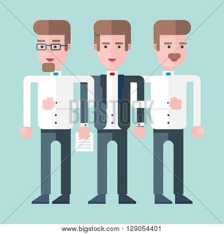 Three persons stand together as a team. Flat vector illustration. Lightblue background