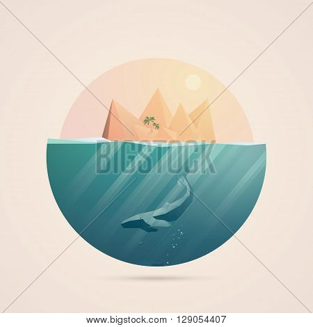Summer background with underwater seascape scene and sunbeams in the ocean. Whale and tropical island elements. Eps10 vector illustration.