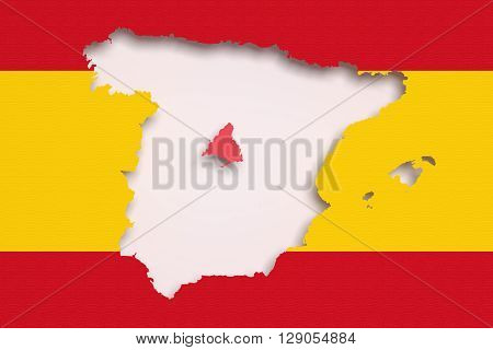 Map Of Spain And Madrid On Bright Red And Yellow Background