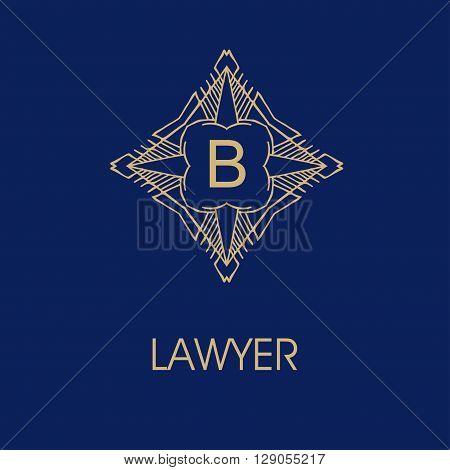 elegant monogram design B. Vector  linear frame and monogram illustration. Trendy linear monogram and linear frame. Monogram