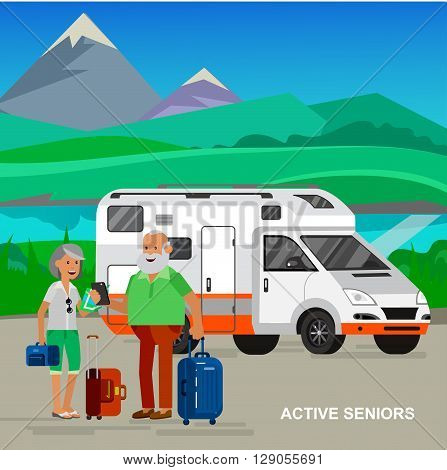 vector detailed character senior, senior age travelers. Old age retired tourists couple. Elderly couple senior having summer vacation. Old tourists with map and gadget. Active senior man and woman