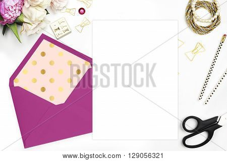 Woman desktop, template card, Mock up for your photo or text Place your work. Peonies and gold stationery. Gold Polka. Header website or Hero website. Flat lay