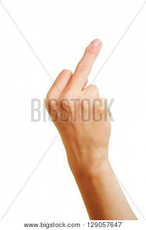 Hand showing middle finger as insulting gesture