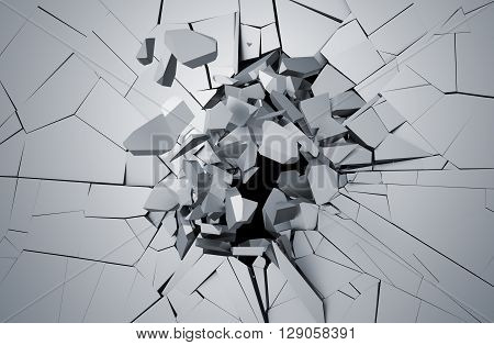 Abstract 3d rendering of cracked surface. Background with broken shape. Wall destruction. Explosion with debris.