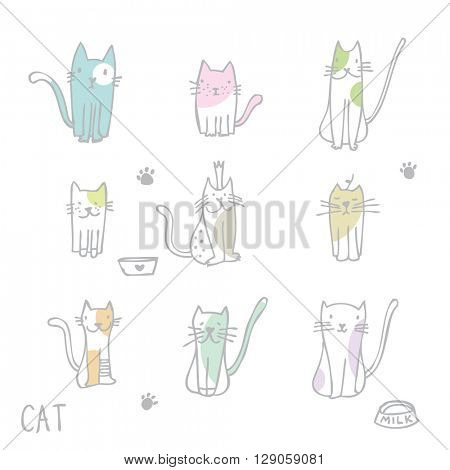Set of cat illustrations - freehand drawings