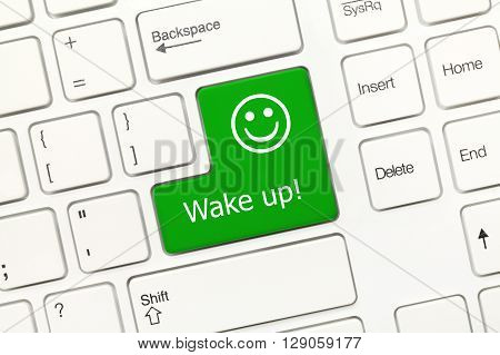 White Conceptual Keyboard - Wake Up (green Key With Smiley Symbol)