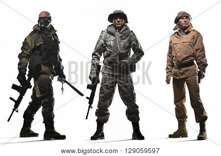 Military war conflict soldiers - Three special forces men holding a machine gun on a white background