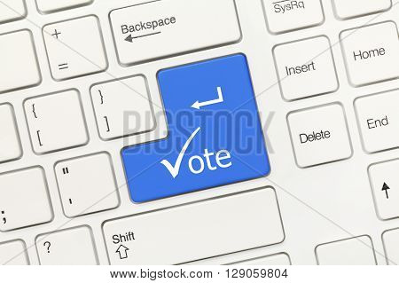 White Conceptual Keyboard - Vote (blue Key With Check Symbol)
