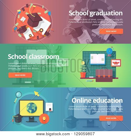 School graduation. Cap and gown. School classroom. Inline education. Self education. Education and science banners set. Vector design concept.