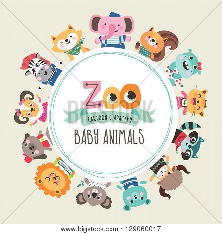 Group of cute cartoon baby animals with text area