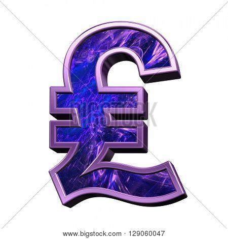 Pound sign case letter from blue-purple fractal alphabet set isolated over white. 3D illustration.