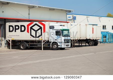 ALTENTREPTOW / GERMANY - MAY 5 2016: a german mercedes benz truck with swapbody from dpd stands on logistic depot in altentreptow / germany on may 5 2016.