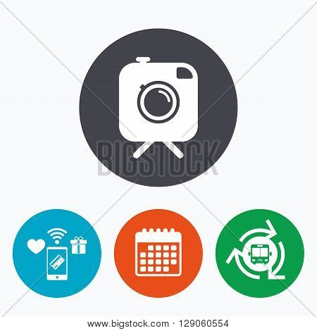 Hipster photo camera sign icon. Retro camera on tripod symbol. Mobile payments, calendar and wifi icons. Bus shuttle.