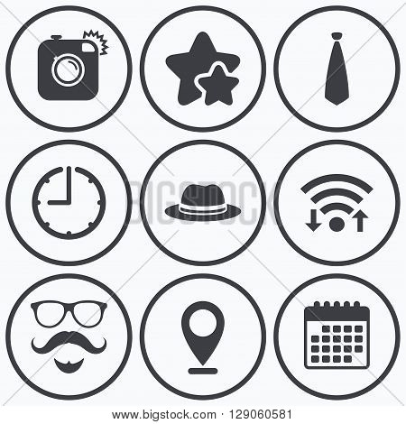 Clock, wifi and stars icons. Hipster photo camera. Mustache with beard icon. Glasses and tie symbols. Classic hat headdress sign. Calendar symbol.