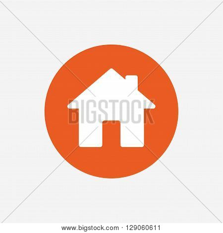 Home sign icon. Main page button. Navigation symbol. Orange circle button with icon. Vector