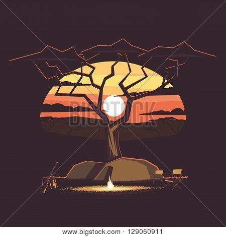 Camp with campfire and tents on the background of the African landscape with acacia tree with sunset and mountains