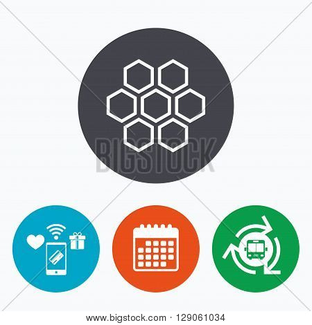 Honeycomb sign icon. Honey cells symbol. Sweet natural food. Mobile payments, calendar and wifi icons. Bus shuttle.