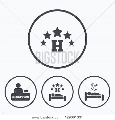 Five stars hotel icons. Travel rest place symbols. Human sleep in bed sign. Hotel check-in registration or reception. Icons in circles.