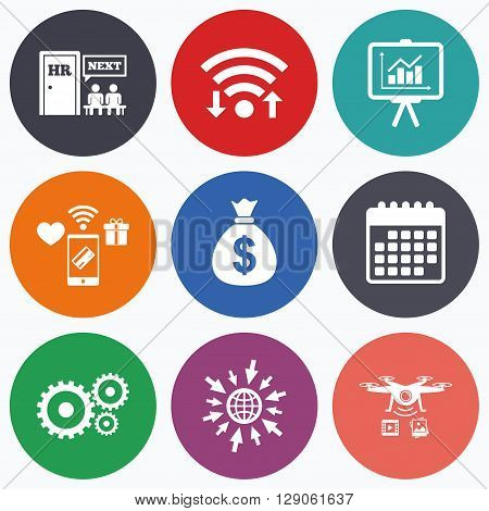 Wifi, mobile payments and drones icons. Human resources icons. Presentation board with charts signs. Money bag and gear symbols. Man at the door. Calendar symbol.