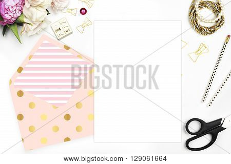 Header website or Hero website, Table view office items, white background mock up, woman desk. Polka gold pattern and blush stripe