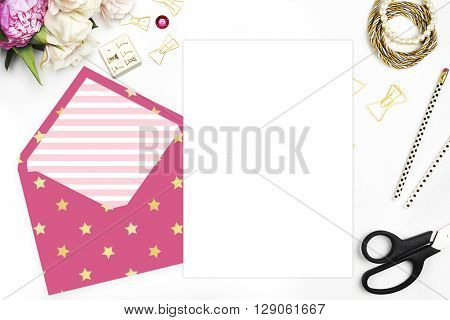 Woman desktop, template card, Mock up for your photo or text Place your work. Peonies and gold stationery. Gold Polka. Header website or Hero website. Gold stars