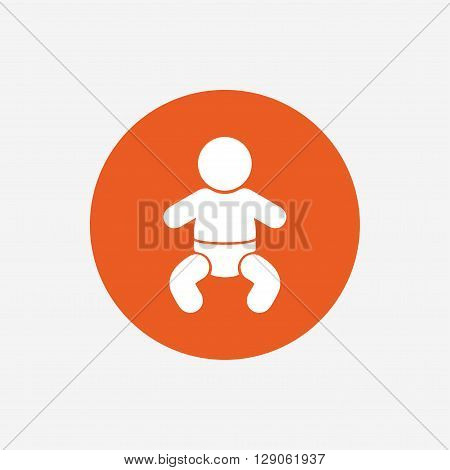 Baby infant sign icon. Toddler boy with diapers symbol. Child WC toilet. Orange circle button with icon. Vector