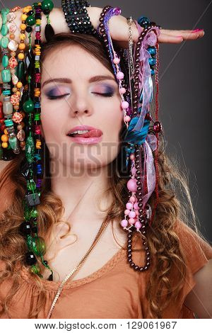 Pretty Woman With Jewelry Necklaces Bracelets