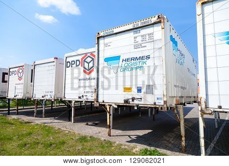 ALTENTREPTOW / GERMANY - MAY 5 2016: swapbodys from parcel service hermes and dpd stands on logistic depot in altentreptow / germany on may 5 2016.