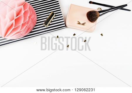 Desktop woman fashion | Styled stock photography | Modern woman desk | Makeup | Flat lay