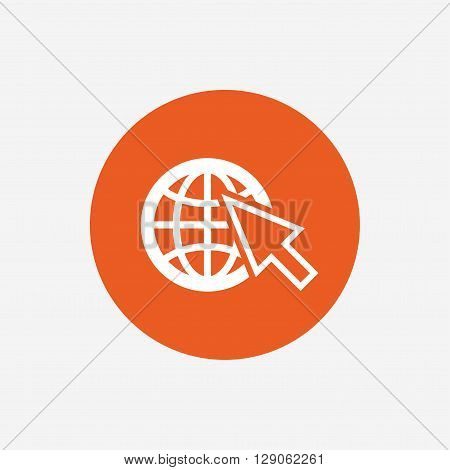 Internet sign icon. World wide web symbol. Cursor pointer. Orange circle button with icon. Vector