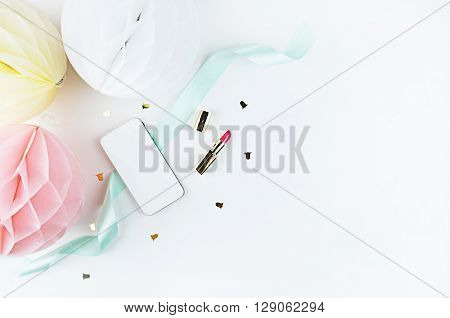 Desktop woman fashion | Styled stock photography | Modern woman desk | Glamour style |. Flat lay. Paper balls. Phone on the table