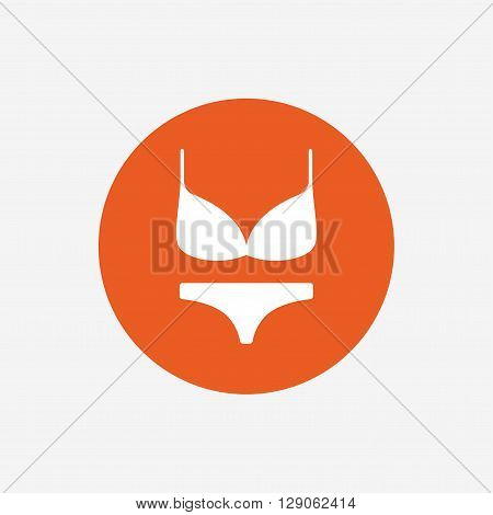 Women bra and panties sign icon. Intimates underwear symbol. Orange circle button with icon. Vector