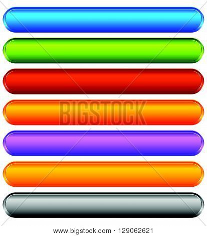 Horizontal Colorful Banner, Button Backgrounds. Set Of Vivid Web Or Print Buttons With Blank Space F