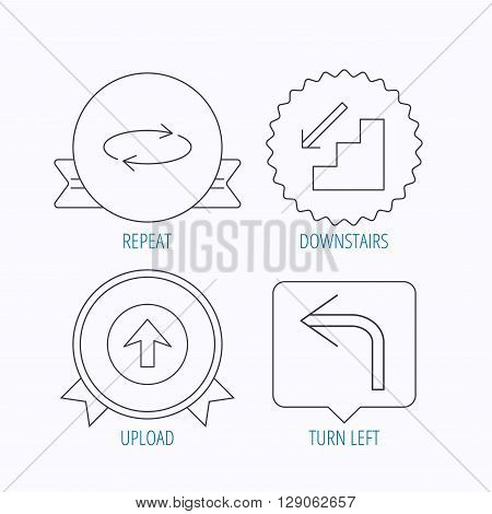 Arrows icons. Upload, repeat and shuffle linear signs. Turn left, downstairs arrow flat line icons. Award medal, star label and speech bubble designs. Vector