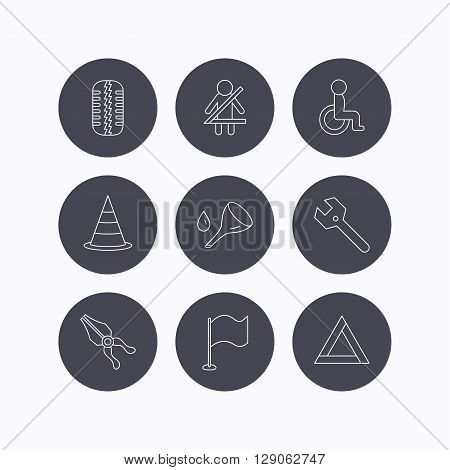 Tire tread, traffic cone and wrench key icons. Emergency triangle, flag and pliers linear signs. Disabled person icons. Flat icons in circle buttons on white background. Vector