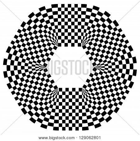 Rounded Shape With Checkered Pattern Fill. Contrasty Abstract Graphical Element.
