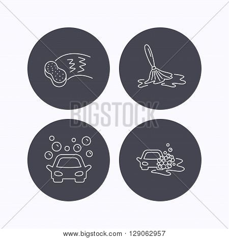 Car wash icons. Automatic cleaning station linear signs. Hand wash, sponge flat line icons. Flat icons in circle buttons on white background. Vector
