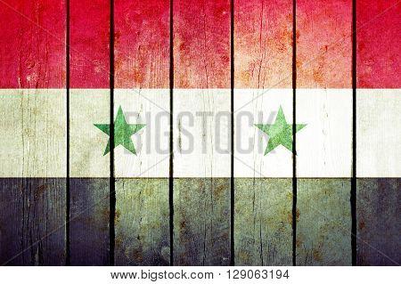 Syria wooden grunge flag
