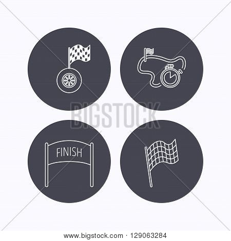 Finish flag, race timer and wheel icons. Race track linear sign. Flat icons in circle buttons on white background. Vector