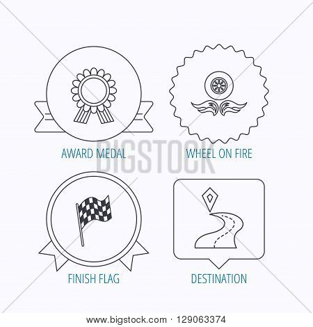 Winner award medal, destination and flag icons. Race flag, wheel on fire linear signs. Award medal, star label and speech bubble designs. Vector