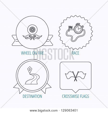 Race flags, timer and destination pointer icons. Wheel on fire linear sign. Award medal, star label and speech bubble designs. Vector