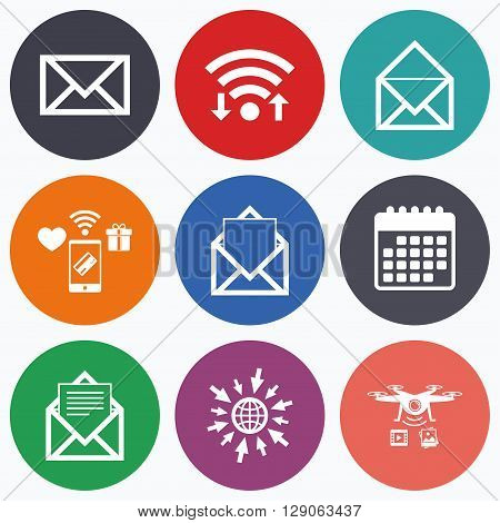 Wifi, mobile payments and drones icons. Mail envelope icons. Message document symbols. Post office letter signs. Calendar symbol.