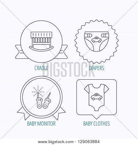 Newborn clothes, diapers and sleep cradle icons. Radio monitoring linear sign. Award medal, star label and speech bubble designs. Vector