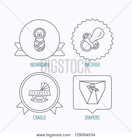 Pacifier, newborn and diapers icons. Cradle bed linear sign. Award medal, star label and speech bubble designs. Vector