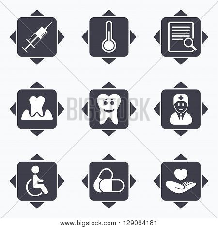 Icons with direction arrows. Medicine, medical health and diagnosis icons. Capsules, syringe and doctor signs. Tooth parodontosis, disabled person symbols. Square buttons.