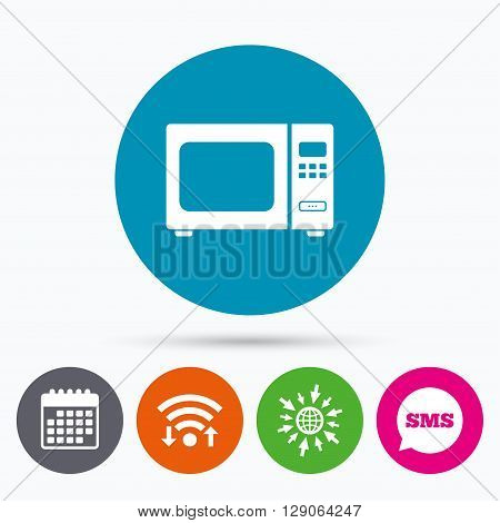 Wifi, Sms and calendar icons. Microwave oven sign icon. Kitchen electric stove symbol. Go to web globe.