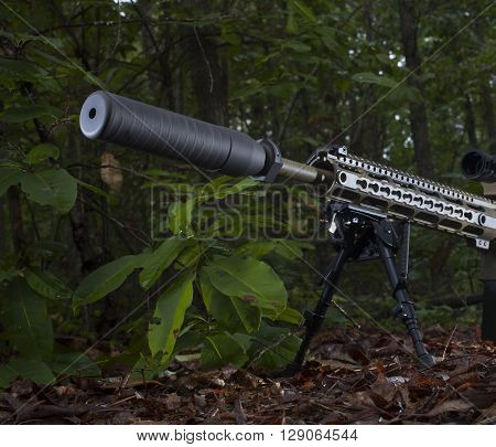 Suppressor on a rifle that is in a bunch of trees
